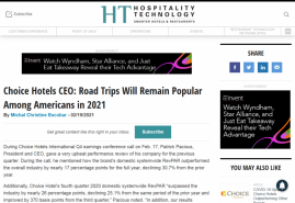 Choice Hotels CEO: Road Trips Will Remain Popular Among Americans in 2021