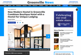 New Modern Hostel in Greenville Combines Boutique Hotel with a Hostel for Unique Lodging