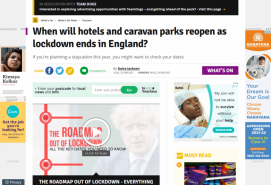 When will hotels and caravan parks reopen as lockdown ends in England