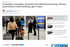 Canadian travellers shouldn't be denied boarding without quarantine hotel booking, gov't says
