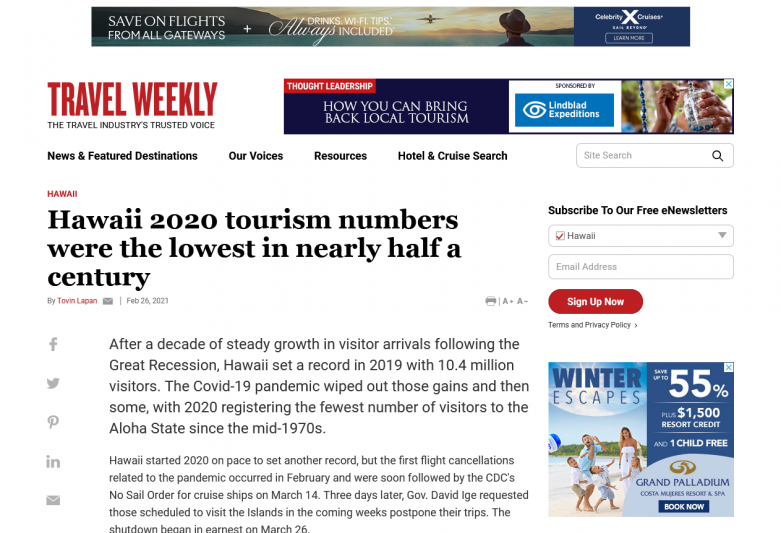 Hawaii 2020 tourism numbers were the lowest in nearly half a century