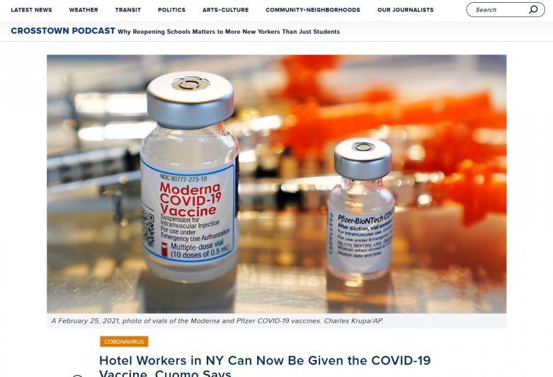 Hotel Workers in NY Can Now Be Given the COVID-19 Vaccine, Cuomo Says