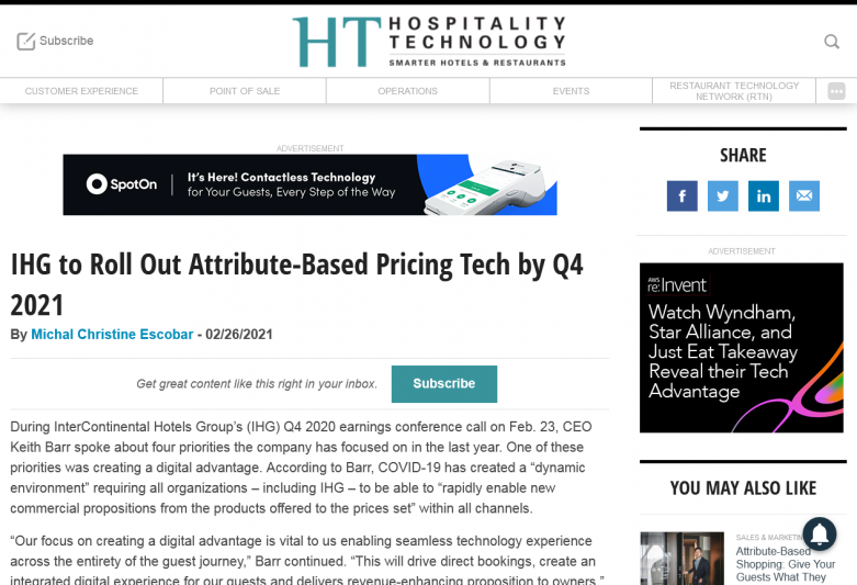 IHG to Roll Out Attribute-Based Pricing Tech by Q4 2021