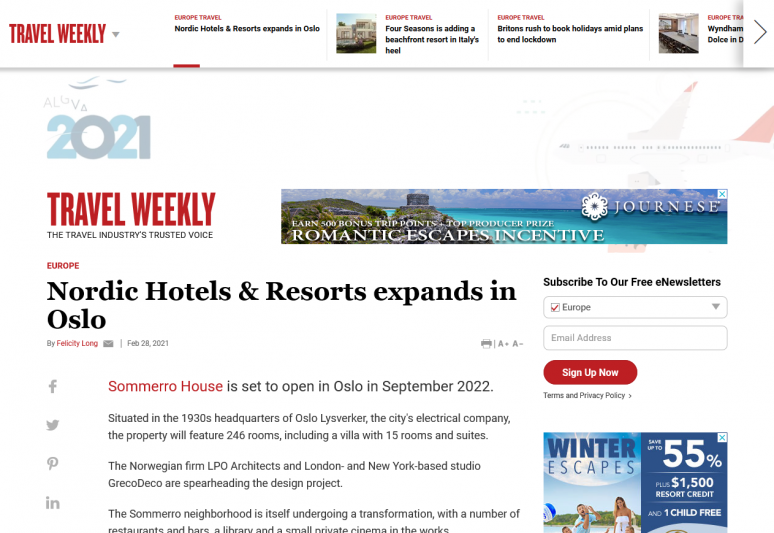 Nordic Hotels & Resorts expands in Oslo
