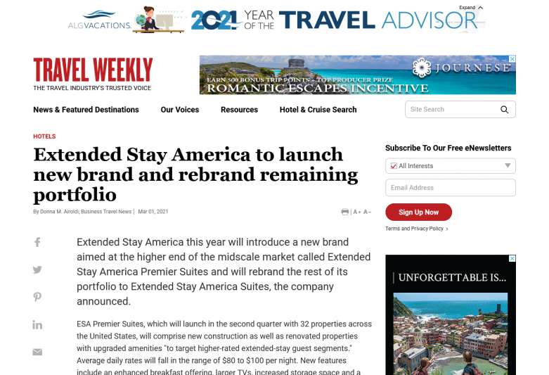 Extended Stay America to launch new brand and rebrand remaining portfolio
