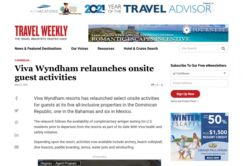 Viva Wyndham relaunches onsite guest activities