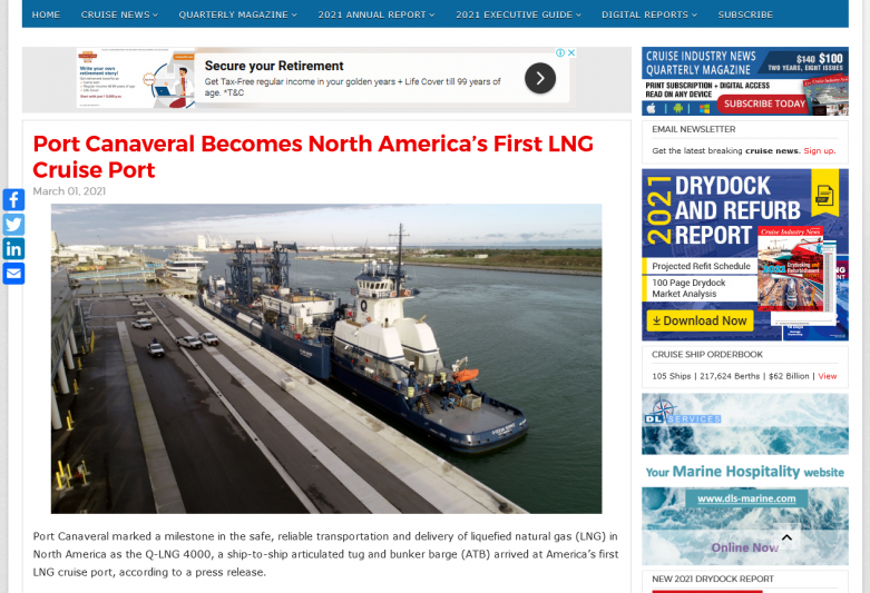 Port Canaveral Becomes North America's First LNG Cruise Port