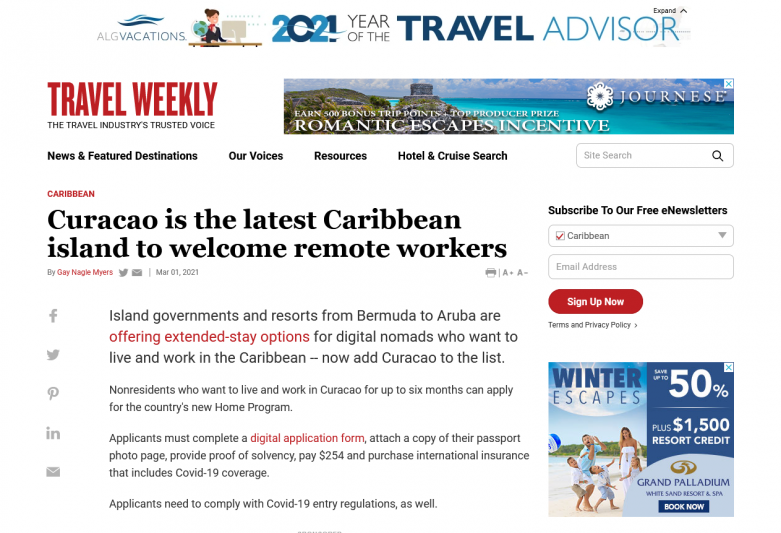 Curacao is the latest Caribbean island to welcome remote workers