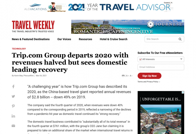 Trip.com Group departs 2020 with revenues halved but sees domestic leading recovery