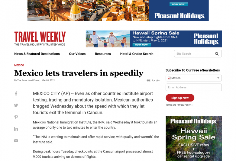Mexico lets travelers in speedily