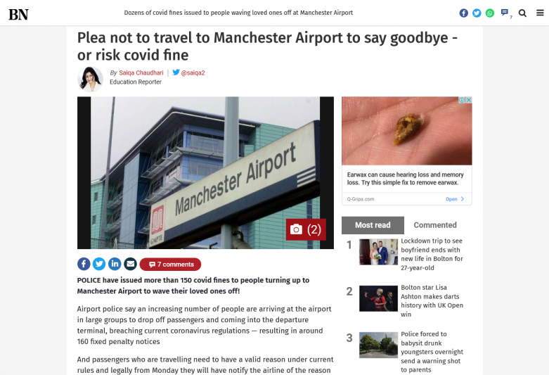 Plea not to travel to Manchester Airport to say goodbye or risk covid fine