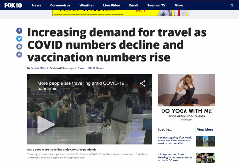 Increasing demand for travel as COVID numbers decline and vaccination numbers rise