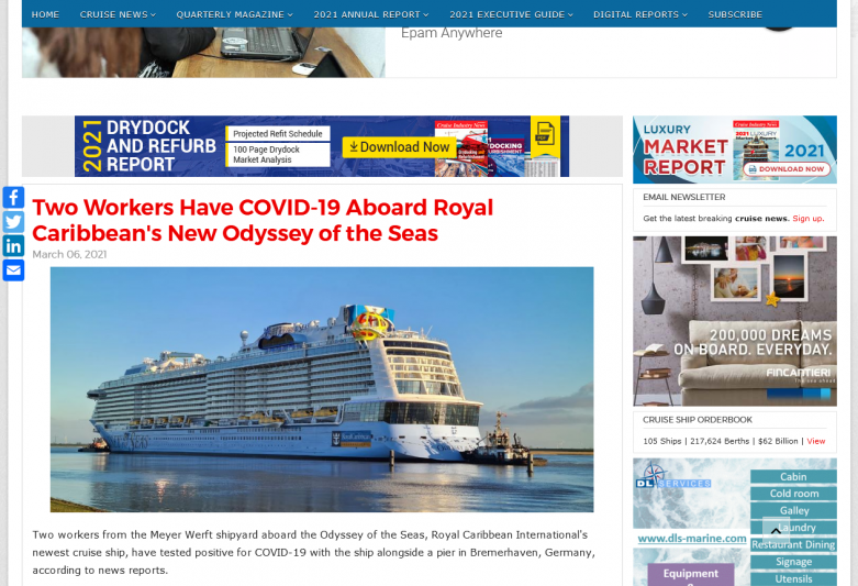 Two Workers Have COVID-19 Aboard Royal Caribbean's New Odyssey of the Seas