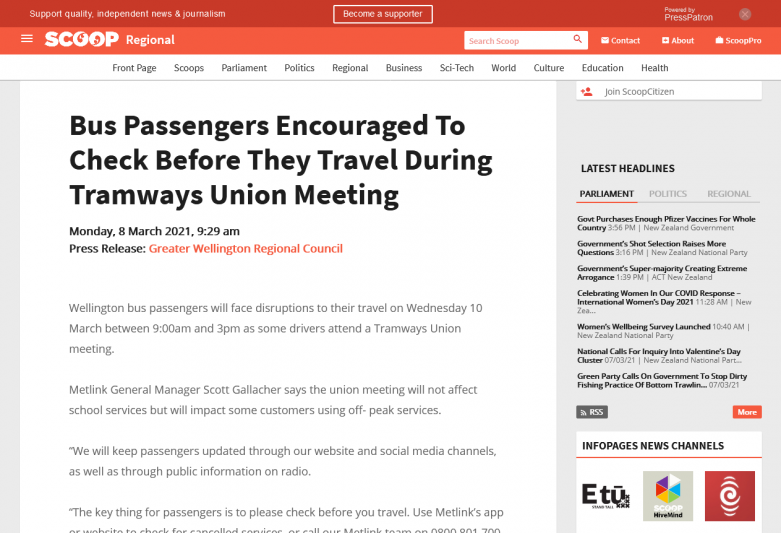 Bus Passengers Encouraged To Check Before They Travel During Tramways Union Meeting