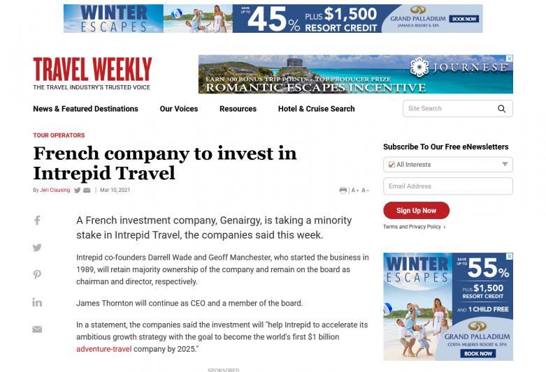 French company to invest in Intrepid Travel