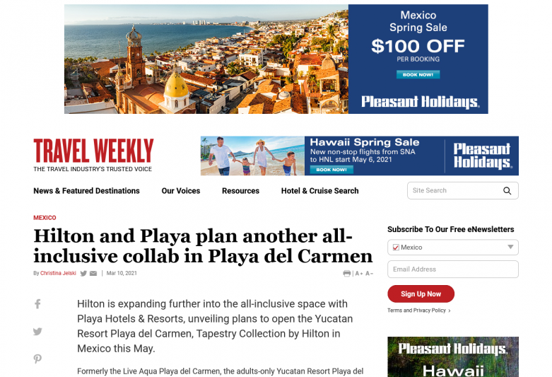 Hilton and Playa plan another all-inclusive collab in Playa del Carmen