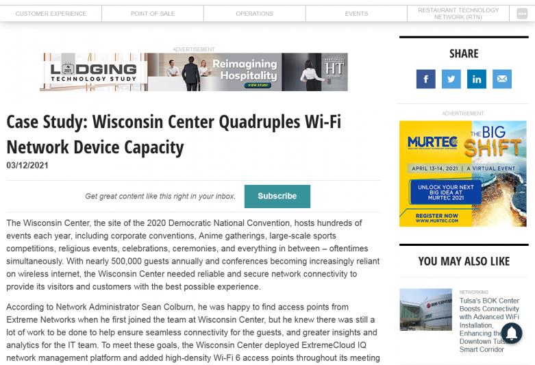 Case Study: Wisconsin Center Quadruples Wi-Fi Network Device Capacity