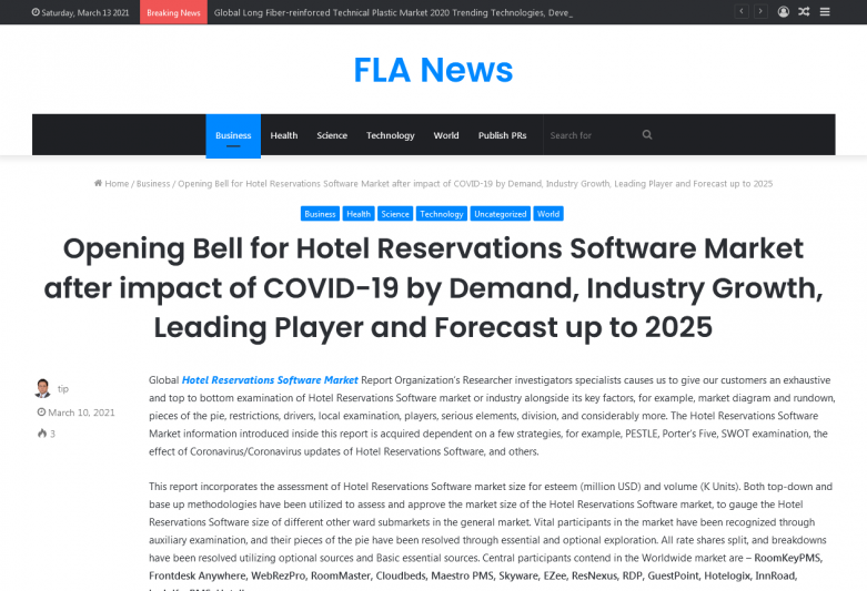 Opening Bell for Hotel Reservations Software Market after impact of COVID-19 by Demand, Industry Growth, Leading Player and Forecast up to 2025