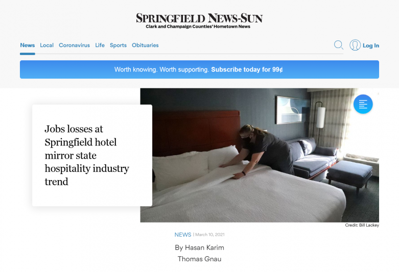 Jobs losses at Springfield hotel mirror state hospitality industry trend