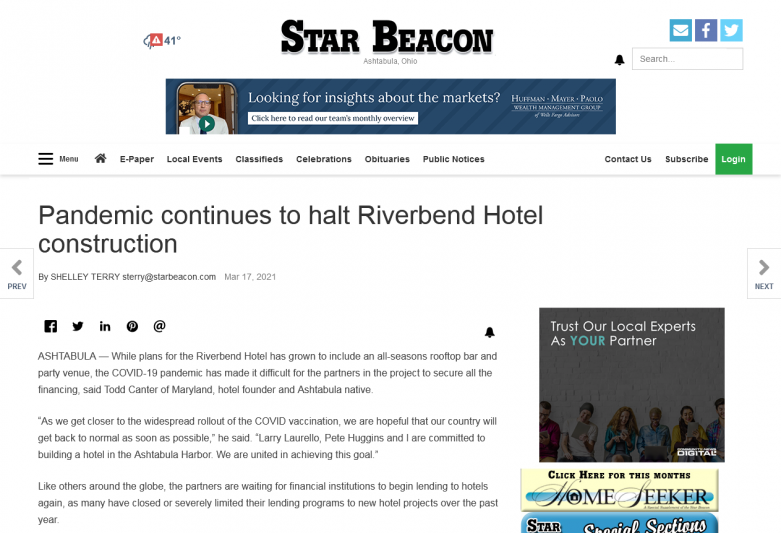 Pandemic continues to haltRiverbend Hotel construction