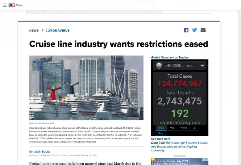 Cruise line industry wants restrictions eased