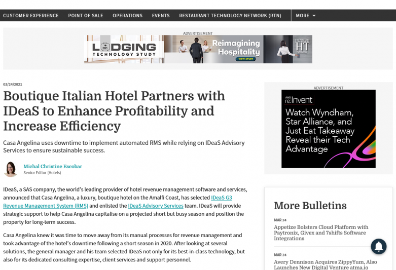 Boutique Italian Hotel Partners with IDeaS to Enhance Profitability and Increase Efficiency