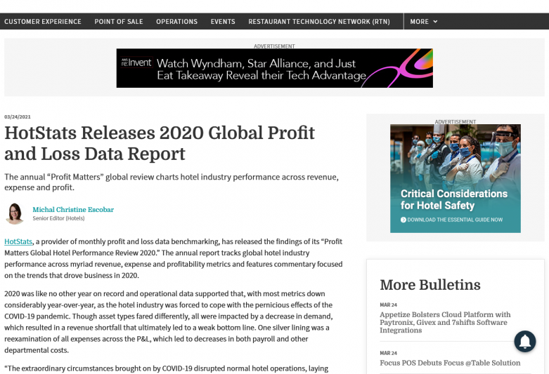 HotStats Releases 2020 Global Profit and Loss Data Report