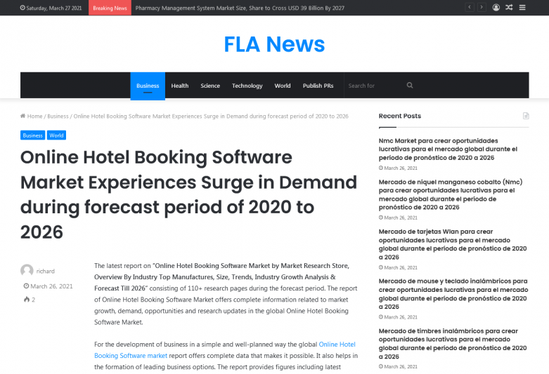 Online Hotel Booking Software Market Experiences Surge in Demand during forecast period of 2020 to 2026