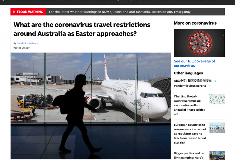 What are the coronavirus travel restrictions around Australia as Easter approaches?