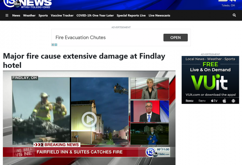 Major fire cause extensive damage at Findlay hotel