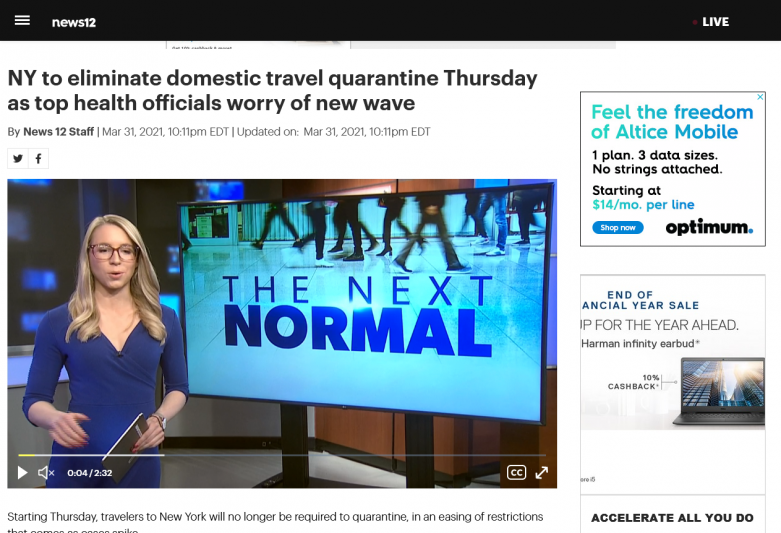 NY to eliminate domestic travel quarantine Thursday as top health officials worry of new wave