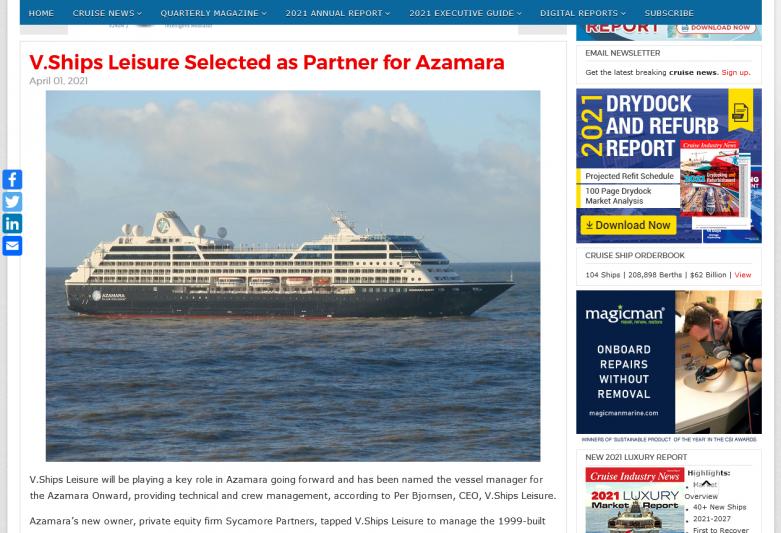 V.Ships Leisure Selected as Partner for Azamara