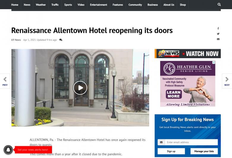 Renaissance Allentown Hotel reopening its doors