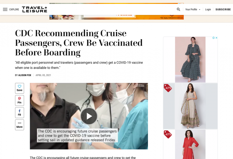 CDC Recommending Cruise Passengers, Crew Be Vaccinated Before Boarding