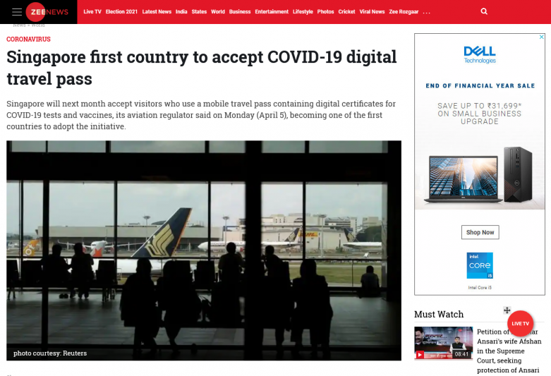 Singapore first country to accept COVID-19 digital travel pass
