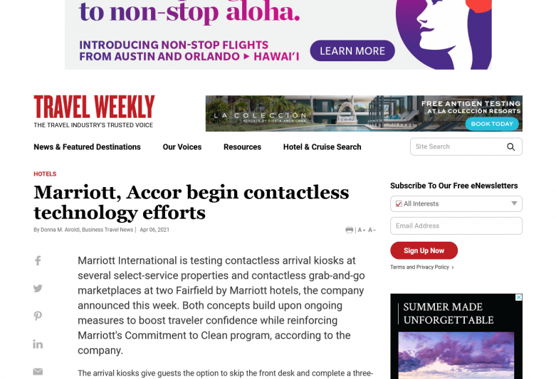 Marriott, Accor begin contactless technology efforts