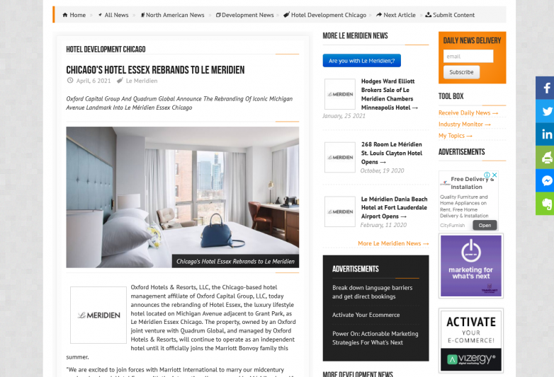 Chicago's Hotel Essex Rebrands to Le Meridien