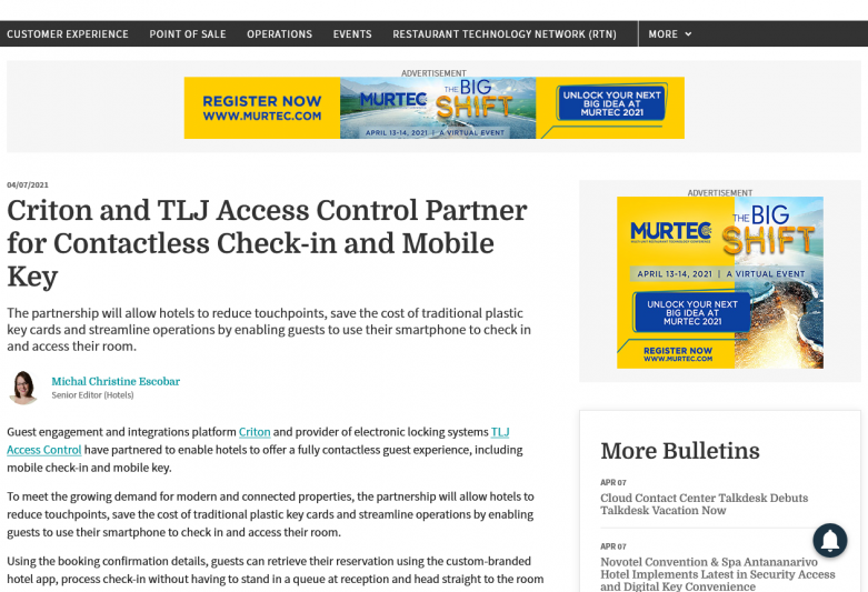 Criton and TLJ Access Control Partner for Contactless Check-in and Mobile Key