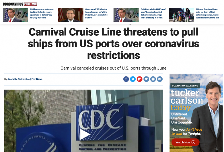 Carnival Cruise Line threatens to pull ships from US ports over coronavirus restrictions