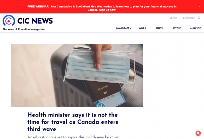 Health minister says it is not the time for travel as Canada enters third wave | Canada Immigration News