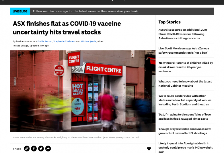 ASX finishes flat as COVID-19 vaccine uncertainty hits travel stocks
