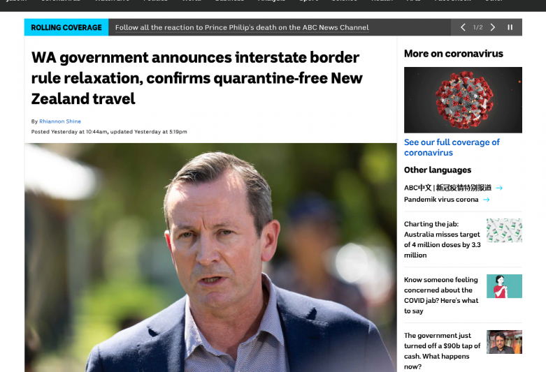 WA government announces interstate border rule relaxation, confirms quarantine-free New Zealand travel