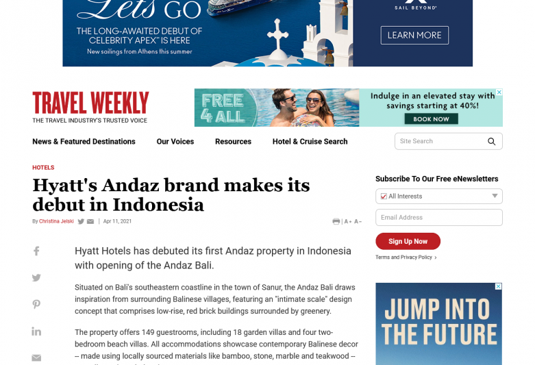 Hyatt's Andaz brand makes its debut in Indonesia