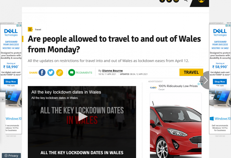 Are people allowed to travel to and out of Wales from Monday?
