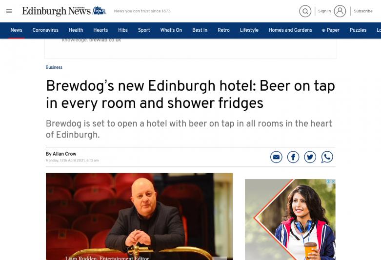 Brewdog's new Edinburgh hotel: Beer on tap in every room and shower fridges