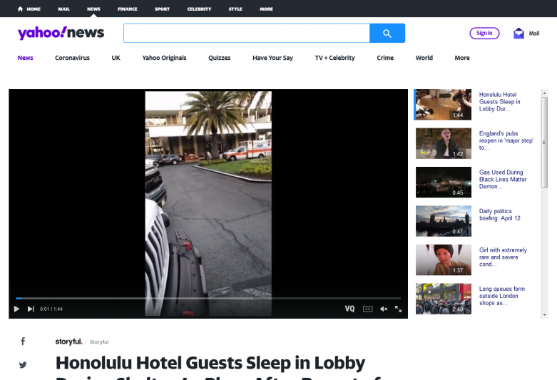 Honolulu Hotel Guests Sleep in Lobby During Shelter-In-Place After Report of Shots Fired