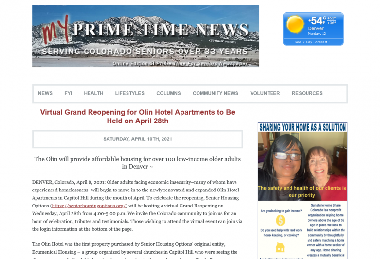 Virtual Grand Reopening for Olin Hotel Apartments to Be Held on April 28th