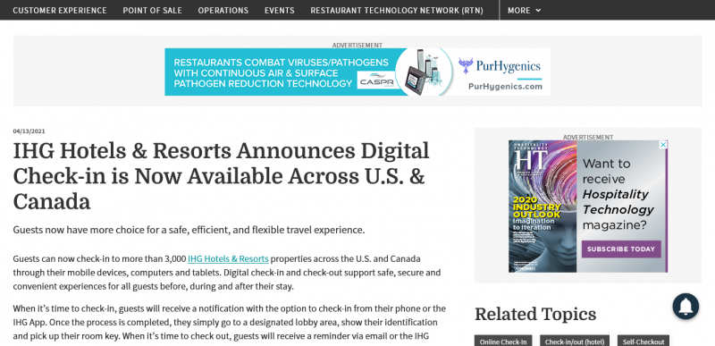 IHG Hotels & Resorts Announces Digital Check-in  is Now Available Across U.S. & Canada