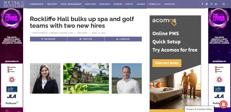 Rockliffe Hall bulks up spa and golf teams with two new hires