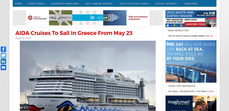AIDA Cruises To Sail in Greece From May 23